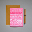 Happy Birthday Greeting Card (Coral)