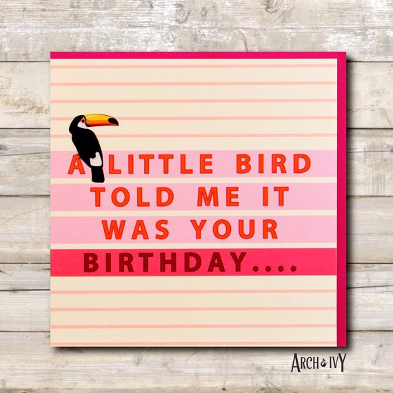 A Little Bird Happy Birthday Greeting Card (Pink)