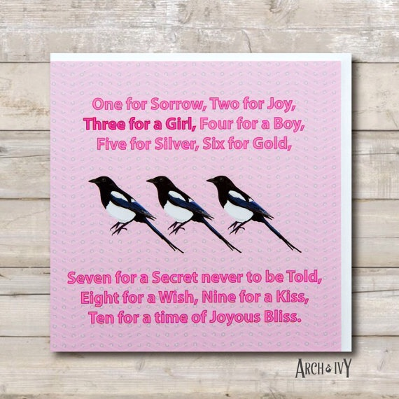 Magpie Baby Girl Greeting Card, New Arrival