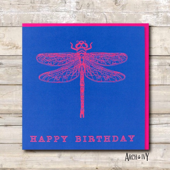 Dragonfly Print Happy Birthday Greeting Card