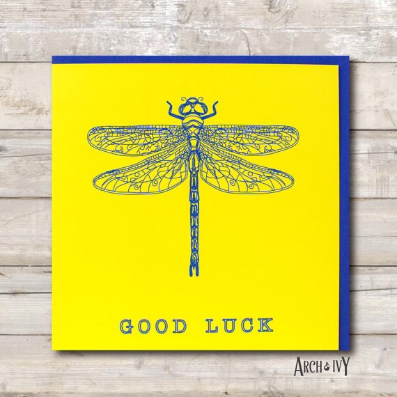 Dragonfly Print Good Luck Greeting Card