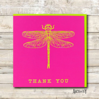 Dragonfly Print Thank You Greeting Card