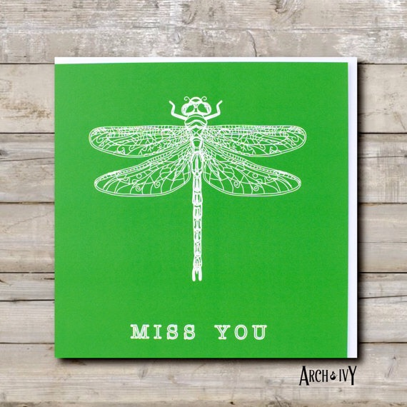 Dragonfly Print Miss You Greeting Card