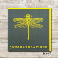 Dragonfly Print Congratulations Greeting Card