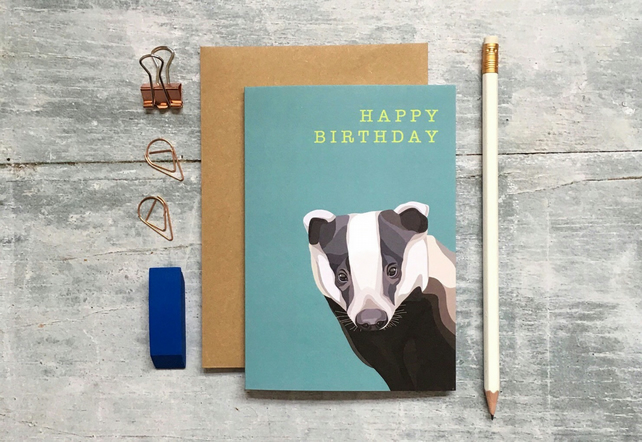 Badger Birthday Card - Badger Card