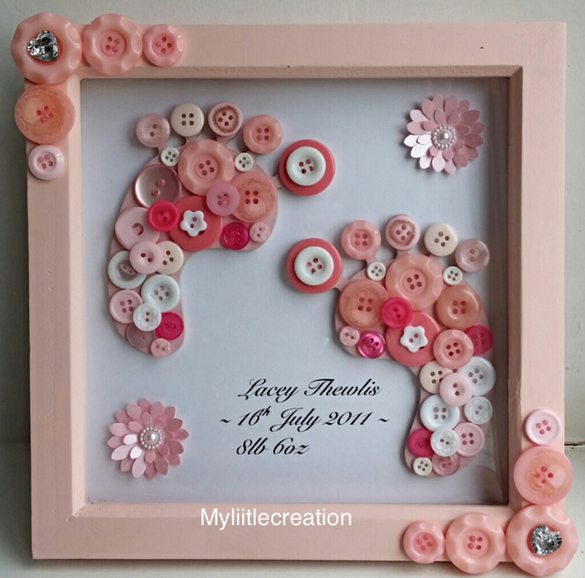 3D baby girl footprint wall art, button art, baby shower gift, baby naming gift,