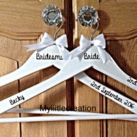 Personalised Wedding Dress Hangers, Bridal Party Gift, White Coat Hanger,,