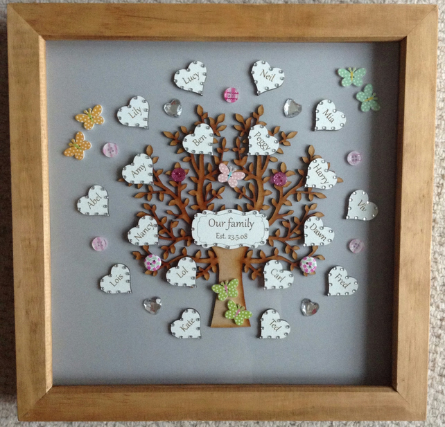 Handmade family tree 3D photo frame fully personalised