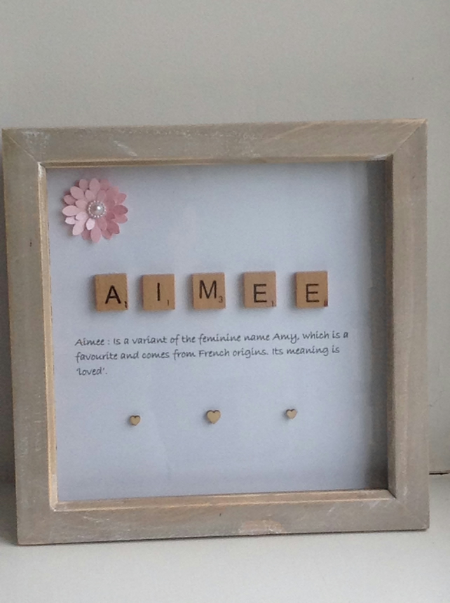 Handmade Scrabble frame, name meaning, personalised 3D box frame