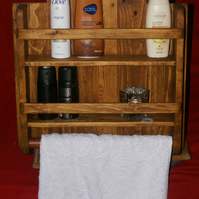 Bathroom Shelf and Towel Rail Rustic Upcycled Reclaimed Pallet Wood Hand Made.