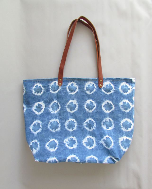 Unique Hand-dyed Shibori Tote Bag INDI 0232