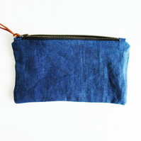 INDI 235 Indigo Linen Zipped Purse