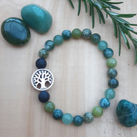 Green Crystal Tree of Life diffuser bracelet