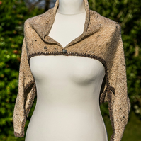 SALE! Women's wool bolero. Hand knitted bolero jacket. Brown ladies shrug.