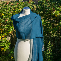 Teal Merino Wool Wrap. Women's Shawl. Ladies Stole. Merino Wool Scarf.