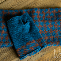 Teal and Rust Fingerless Gloves. Wool Wrist Warmers. Fingerless Mitts.