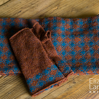 Rust,Teal wool Fingerless Mittens. Fingerless Gloves. Lambswool Wrist Warmers.