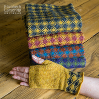 Mustard lambsWool Fingerless Mittens. Fingerless gloves.Grey wrist warmers.