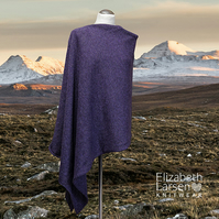 Purple asymmetric poncho. Super soft lambswool poncho. Cape. Clothing.