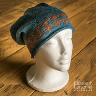 Teal and Rust wool slouch beanie. Lambswool beanie. Unisex hat. Slouchy hat.