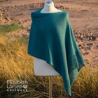 Teal mesh lace cotton asymmetric poncho. Summer soft knit poncho.