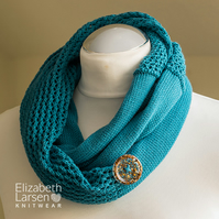 Teal cotton mesh lace infinity scarf. Summer knit scarf. Gift for her.