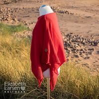 Red Cotton Asymmetric Poncho. Soft cotton knit poncho. Women's summer poncho.