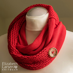 Red soft cotton infinity scarf. Button decorated mesh lace cowl. Summer scarf.