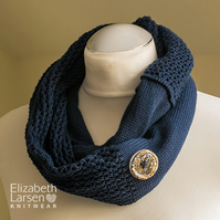 Navy soft cotton infinity scarf. Mesh lace, button decorated cowl. Summer scarf.