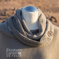 Silver grey cotton infinity scarf. Button decorated mesh lace cowl. Summer scarf