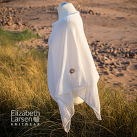 White cotton asymmetric poncho. Boho wedding poncho. Mesh lace poncho.