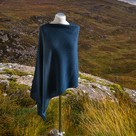 Midnight Blue wool asymmetric ladies poncho. Wool cape. Knitted poncho.