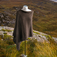 Brown wool asymmetric poncho. Wool cape. Knitted poncho. Asymmetric top.
