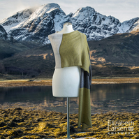 Lime and Grey super fine merino wrap, shawl, pashmina. Women's lightweight stole