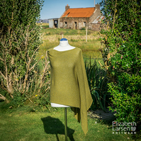 Green tweed merino silk asymmetric poncho, women's cape, knitted asymmetric top