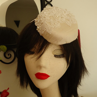 Cream Silk Dupion and Lace Oval Percher Hat