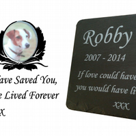 Pet Photo Memorial Slate Plaque Personalised for your loved pet including photo