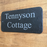 Beautiful Natural Slate House Sign 40cm x 15cm Traditional Rustic Finish