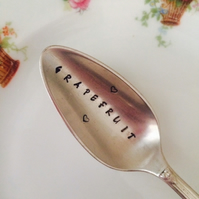 Personalised Gift. Hand Stamped Grapefruit Spoon. Silverplated Vintage Spoon
