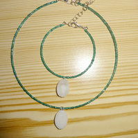 white druzy agate bracelet and necklace set