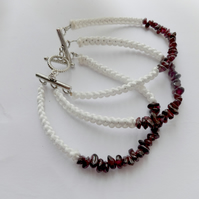triple garnet gemstone bracelet with macrame design