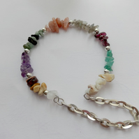 mixed gemstone memory wire bracelet