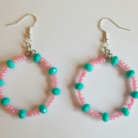 pink and aqua beaded hoop earrings