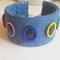 denim up-cycled cuff bracelet