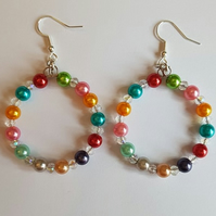 colourful acrylic beaded hoop earrings