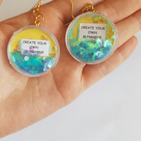 create your own sunshine glitter quote earrings