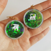 peace and love quote glitter shaker earrings