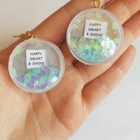 happy smart and shiny quote glitter shaker earrings