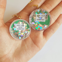 Keep calm wear earrings quote glitter shaker earrings