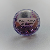 Don't worry be happy quote glitter ring